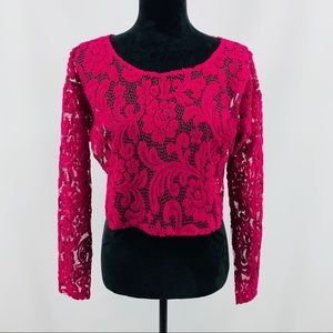 Fredericks of Hollywood Pink Lace Crop Top